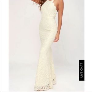 Lulus Zenith Cream Lace Maxi Dress